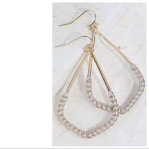 Jewelry - Light Gray Thread Wrapped Marquee Earrings
